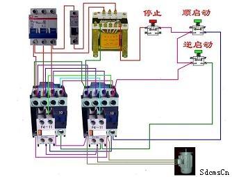 给控制电路来控制两个接触器的吸合从而完成电机换项